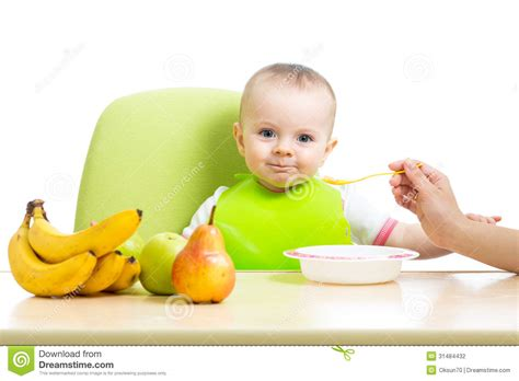 Baby Girl Eating Healthy Food Stock Photo Image 31484432
