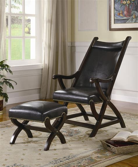 Wood And Leather Chair With Ottoman by Furniture Mid Century Black Faux Leather Lounge Chair With