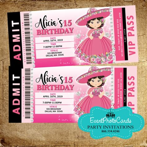 floral charro western quinceanera invitations ticket