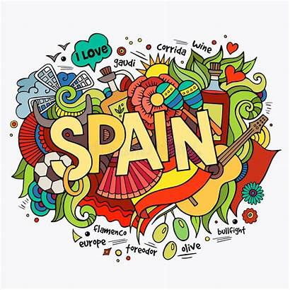 Spain Doodles Lettering Elements Culture Madrid Country