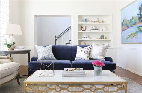 Navy Sofa Living Room by Living Room Makeover Park Project Studio Mcgee
