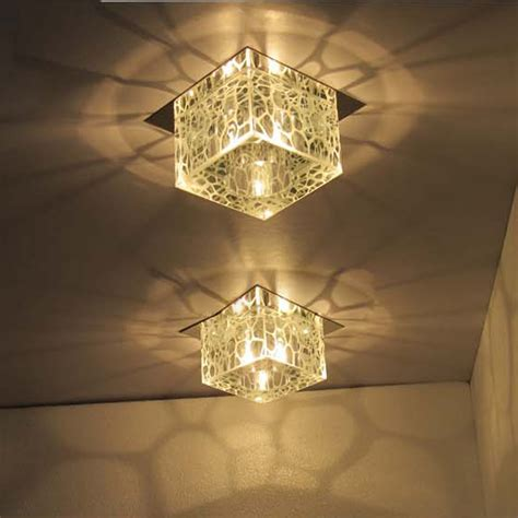 "Modern 5"" Square Water Cube Crystal Ceiling Lamps Hallway"