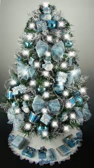 decorated mini tabletop tree turquoise blue silver oh tree