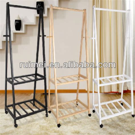 26364 clothes rack for bedroom 2 tiers practical bedroom clothes rack wooden stand buy