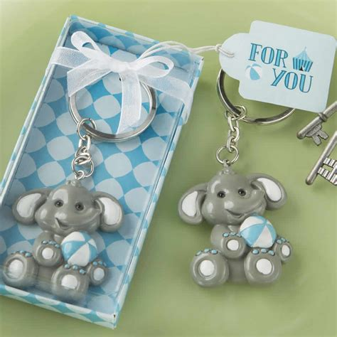 baby shower keychains baby elephant keychain with blue design key chain free