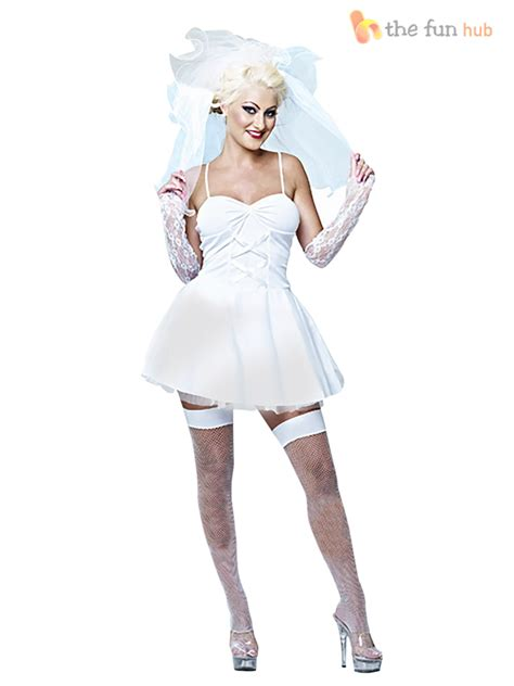Ladies 80s Virgin Bride Bridal Fancy Dress Hen Do Party Disco Pop Icon Outfit | eBay