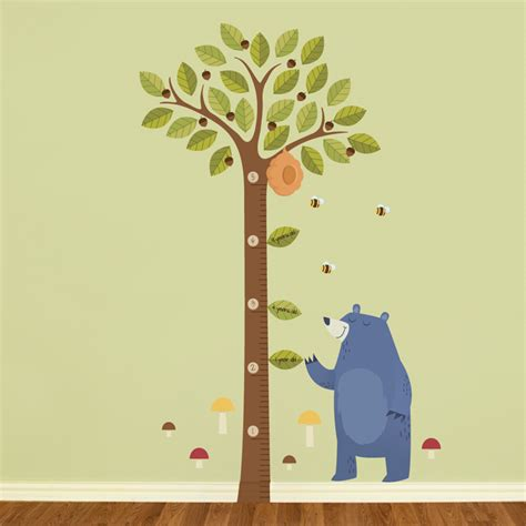 tall acorn tree growth chart printed wall decals stickers graphics