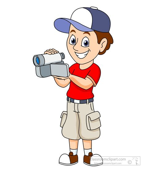 13237 photographer taking a picture clipart clipart boy shooting with camcorder