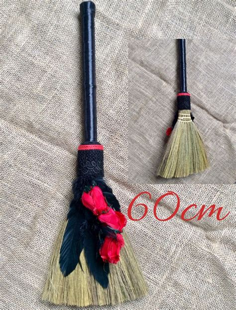 gothic large witch broom stick decor cm red rose feather