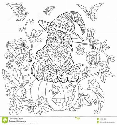 Coloring Halloween Cat Zentangle Pumpkin Katze Cats