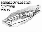 Coloring Carrier Aircraft Navy Ship Cvn Template Sheets Battleship Naval sketch template