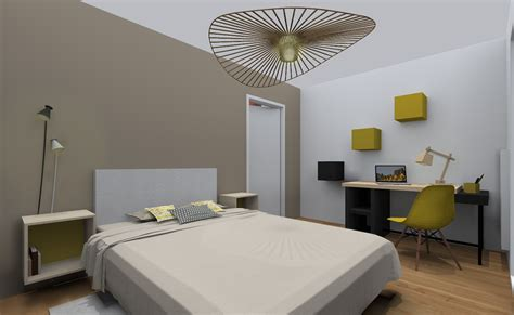 chambre avec  lit double deux chevets  bureau dans