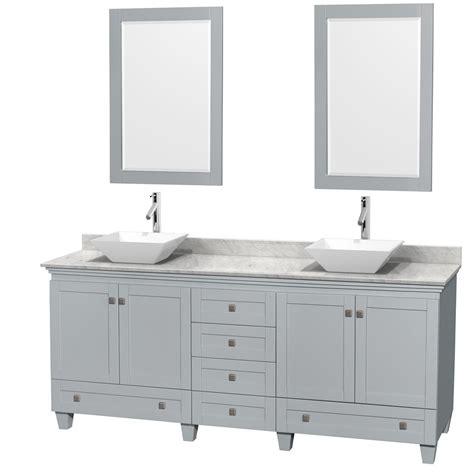 Accmilan 80 Inch Double Sink Bathroom Vanity In Grey