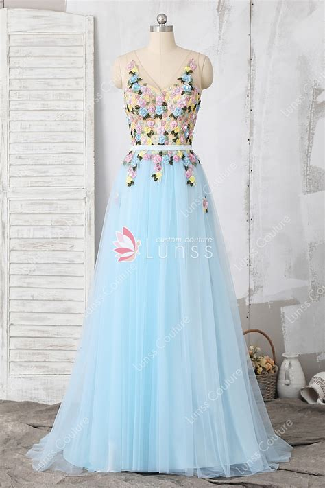 Cotton Dress Baby Blue baby blue beaded embroidery lace tulle a line prom
