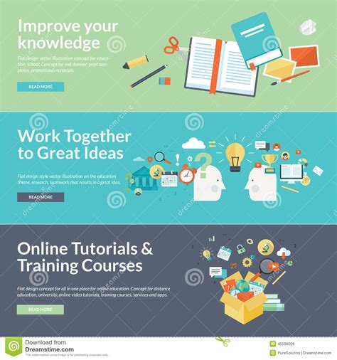 certification courses flat design vector illustration concepts for education