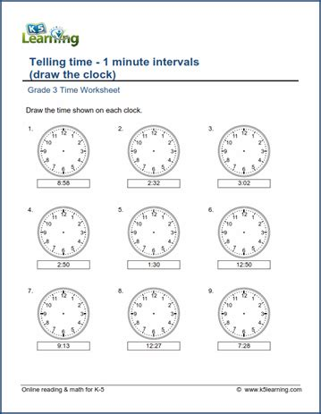 grade 3 telling time worksheet draw the clock 1 minute