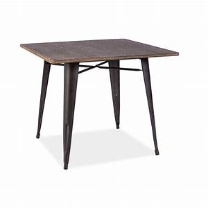 Pied De Table Metal Carré : table carr almir style industriel avec plateau en bois et pied en m tal ~ Teatrodelosmanantiales.com Idées de Décoration