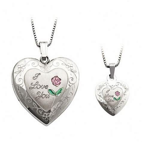mother  daughter matching  love  heart locket