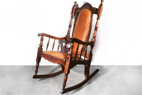 era oak rocking chair with leather 1890s at 1stdibs