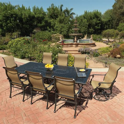 grand terrace sling dining patio set by gensun family