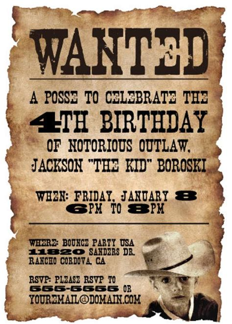 wanted poster western themed birthday party