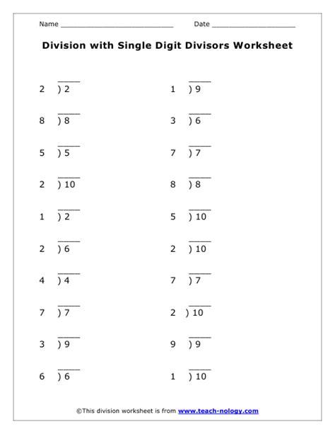 single digits division math worksheet division with single digit divisors worksheet
