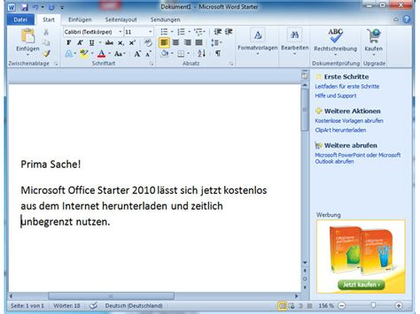 Builder In Microsoft Word by Microsoft Office Starter 2010 Computer Bild