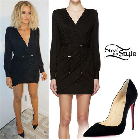 Khloe Kardashian: Black Draped Dress, Suede Pumps | Steal ...