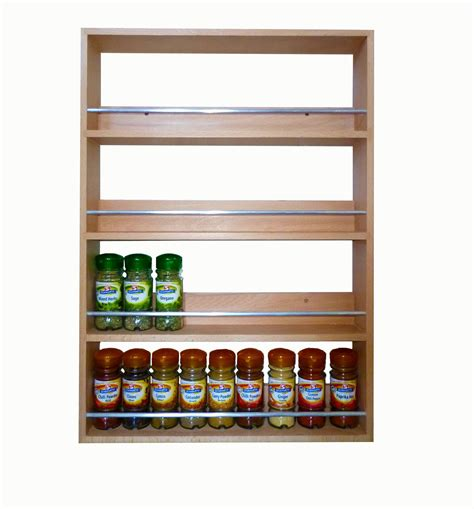 Contemporary Solid Beech Spice And Herb Rack 4 Tiers