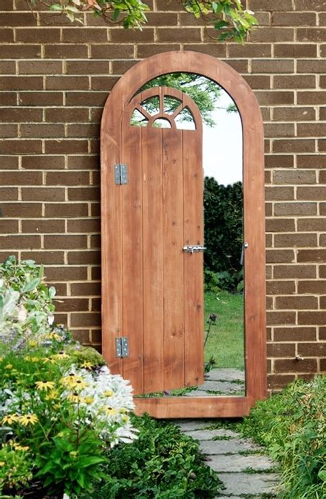 wooden illusion garden glass mirror gate outdoor large