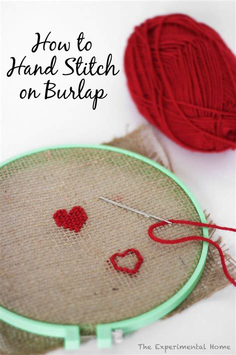 hand stitch on burlap i ll give it a shot diy ideas