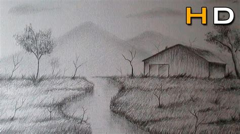 drawing pictures of landscape how to draw a landscape with pencil step by step for beginners timelapse youtube