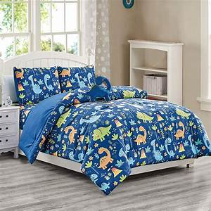 4, Piece, Blue, Dinosaur, Print, Twin, Size, Comforter, Set, With