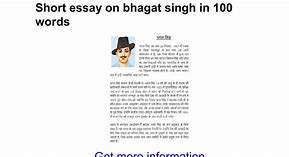 Bhagat singh essay in hindi 200 words