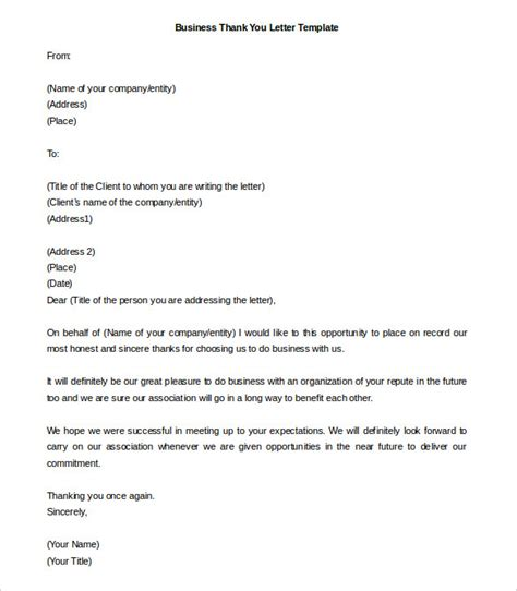 Thank You Letter Template by 41 Free Thank You Letter Templates Doc Pdf Free