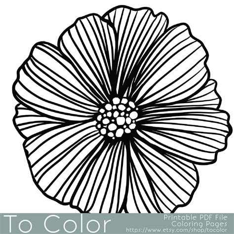 Printable Flower Coloring Page for Adults/Instant