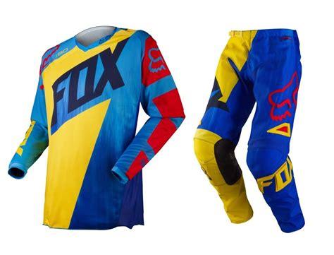 childrens motocross gear fox mx 2015 180 vandal ylw blu kids bmx mtb motocross dirt