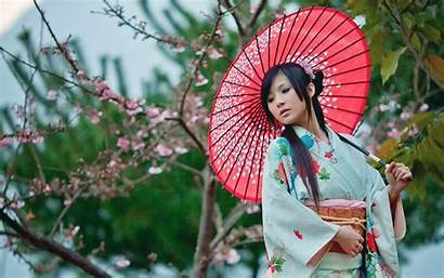 Kimono Umbrella Wallpapers Asian Japanese Sakura Japan