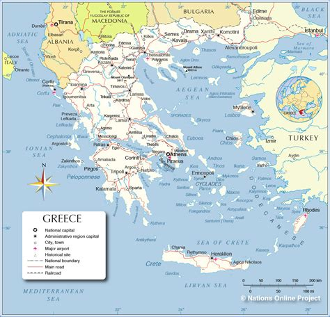 political map  greece nations  project
