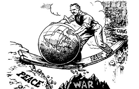 Chamberlain Rolls The World Towards Peace Cartoon