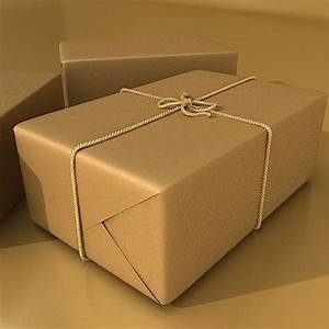 Cardboard Box Wrapped In Brown Paper