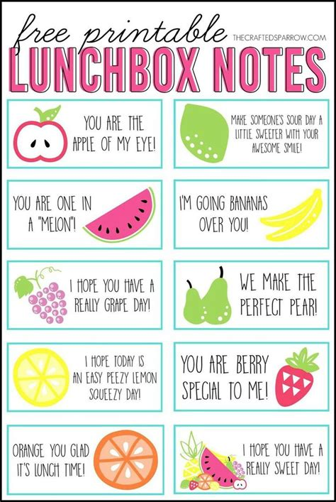 Free Printable Lunchbox Notes  Best Of Pinterest  Lunch Box Notes, Kids Lunch For School
