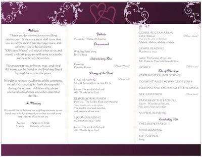 catholic brides program question weddings planning