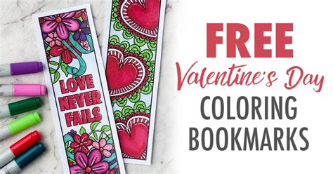 printable valentines day coloring bookmarks