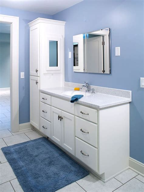 double bathroom vanity  attached tall cabinet vanity