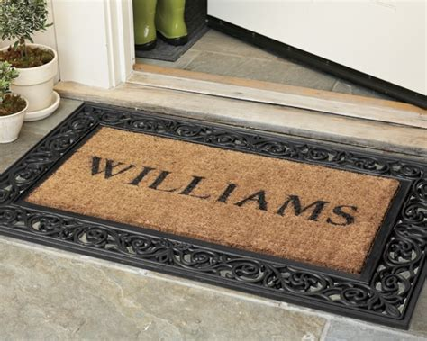 monogrammed door mat personalized rubber scroll coir doormats williams sonoma