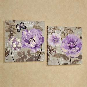 floral delight purple flower canvas wall art set With floral wall art