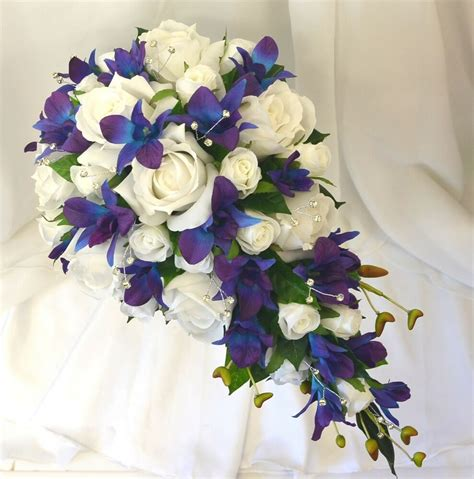 Silk Wedding Flowers Blue Purple Orchids White Roses