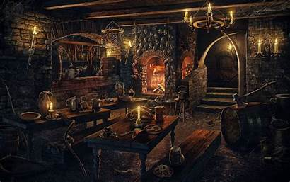 Inn Gothic Tavern Artstation Candles Table Fireplace