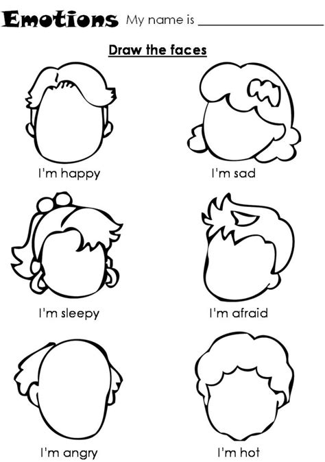 emotions worksheet for children draw the faces ot